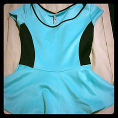 Light blue & black flowy blouse Never worn in perfect condition. Tops Blouses