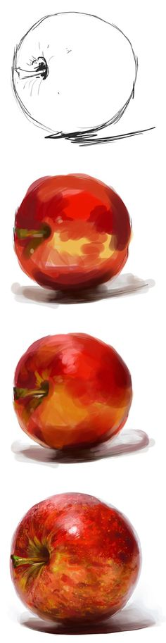 I want to get better using Photoshop so I did a simple exercise to digitally paint an apple. This is a little step by step thingie. I start with a very simple sketch, then block in my basic colours...