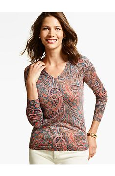 d4a480b4d7f03f Merino Wool V-Neck Sweater - Sophisticated Paisley - Talbots Classic  Outfits