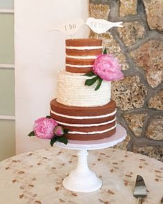 "Our ""half naked cake"" with buttercream ruffles for this vintage organic style wedding in Coconut Grove, by Cloud 9 Bakery 