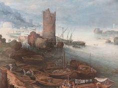 塔の廃墟のある川の風景 パウル・ブリル