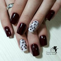42 modelos de unhas decoradas com esmalte vermelho νύχια (nails), γιορτινό Burgundy Nails, Yellow Nails, Pink Nails, Cute Acrylic Nails, Cute Nails, Pretty Nails, May Nails, Fall Nail Art, Flower Nails