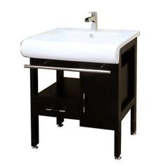 Bellaterra Home Dark Espresso Undermount Single Sink Birch Bathroom Vanity with Natural Marble Top (Common: 28-in x 21-in; Actual: 28-in x 21.3-in)