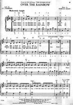 Free download - sheet music Over The Rainbow (Wizard of Oz)