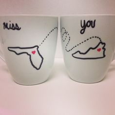 Long Distance Best Friends Mugs by KitchenPaintedPretty on Etsy