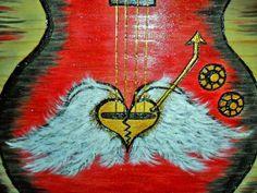 Guitar painting hand burned original guitar art by Tcavanwoodworks