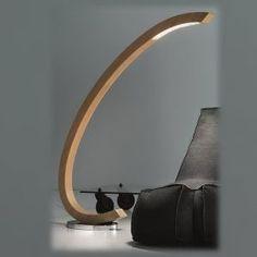 Tall Italian curved oak and crystal floor lamp