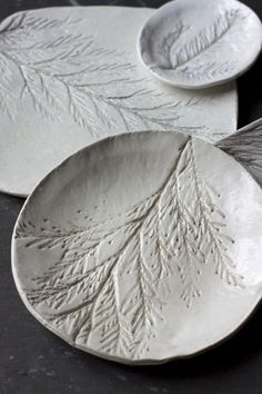 Clay Dishes with Pine Imprints