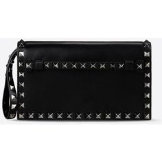 Valentino Rockstud small clutch ($1,745) ❤ liked on Polyvore featuring bags, handbags, clutches, black, studded purse, black clutches, black studded purse, valentino purses and black studded handbag