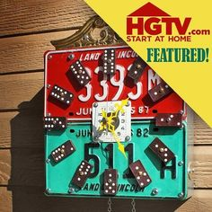 Repurposed Upcycled Red and Green License Plate by GadgetSponge, $165.00 by wiplashed