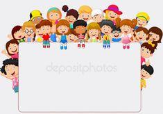 Crowd children cartoon with blank sign. Illustration of Crowd children cartoon w , Portfolio Kindergarten, Teaching Portfolio, School Border, Diy And Crafts, Crafts For Kids, Blank Sign, Blank Banner, Kids Background, Powerpoint Background Design