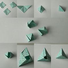 Origami Tuto of lunch break 3 fields. 3 minutes and here is my Fox Box or Pyramid Mod - Origami Tuto of lunch break 3 fields. 3 minutes and here is my Fox Box or Pyramid Mod - Origami Design, Origami Triangle, Instruções Origami, Origami Star Box, Origami And Kirigami, Origami Paper Art, Origami Dragon, Origami Fish, Origami Folding