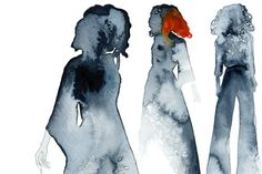 Women. Watercolour silhouettes in grey and orange. Fashion illustration.