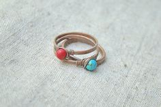 Turquoise ring coral ring  turquoise rings by JD4dreamer on Etsy, $32.00