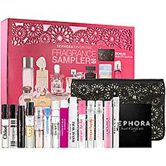 Sephora goody bag of product including lip gloss, fragrance, skincare and haircare.