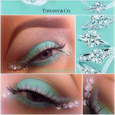 Tiffany inspired makeup Beauty Make Up, Hair Beauty, Face Rhinestones, Makeup Tips, Hair Makeup, Rhinestone Makeup, Jewel Makeup, Tiffany Blue Color, Magical Makeup