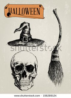 Find Hand Drawn Halloween Shapes Set Skull stock images in HD and millions of other royalty-free stock photos, illustrations and vectors in the Shutterstock collection. Gothic Tattoo, Dark Tattoo, Witch Broom, Witch Cat, Halloween Rocks, Halloween Skull, Halloween Design, Discworld Tattoo, Arte Do Harry Potter