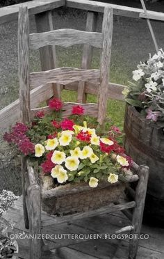 old wooden chair upcycled into a adorable garden pot. good use of chicken wire for planter