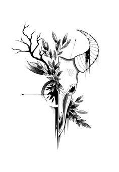Buffalo skull tattoo and t-shirt design. by EleMatulka on DeviantArt Buffalo sk. - Buffalo skull tattoo and t-shirt design. by EleMatulka on DeviantArt Buffalo skull tattoo and t-sh - Feminine Skull Tattoos, Floral Skull Tattoos, Bird Skull Tattoo, Mexican Skull Tattoos, Animal Skull Tattoos, Skull Tattoo Design, Animal Skulls, Tattoo Designs, Indian Skull Tattoos