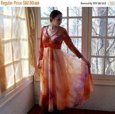 8ffa9db18e Hippie Tie Die Party Dress Vintage 1970s Orange and Purple Maxi Dress Romantic  Floaty Semi Sheer Chiffon Size Small to Medium