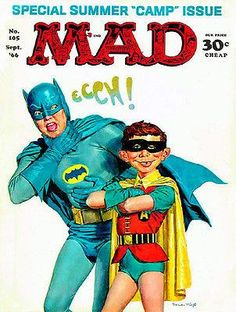 Mad Magazine UK Issue 59 : 11 / 1966 : Cover by Norman Mingo - Batman and Robin (camp) Batman 1966, Batman Robin, Funny Batman, Batman Cast, Superman, Caricatures, Comic Book Covers, Comic Books, Batman Tv Show