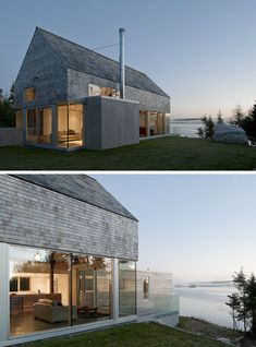 Satteldach-Haus auf die Meerküste gerichtet
