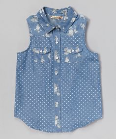 Love this Speechless Chambray Floral & Polka Dot Button-Up Tank by Speechless on #zulily! #zulilyfinds