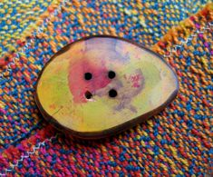 019 Multicolored, drop shaped, wooden button, handmade, one of a kind. di Piluck su Etsy