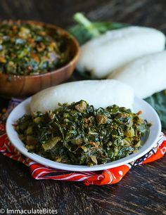 sukuma wiki and ugali (Corn Meal)