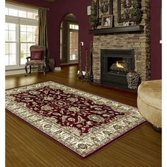 Astoria Grand Rausch Traditional Red/Beige Area Rug