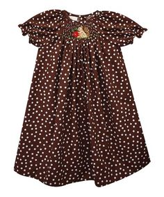 Look what I found on #zulily! Brown Squirrel Smocked Bishop Dress - Infant, Toddler, & Girls #zulilyfinds