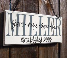 Personalized Family Wood Sign Home Decor Established Date... by SaidInStoneOnline on Etsy https://www.etsy.com/listing/114656338/personalized-family-wood-sign-home-decor