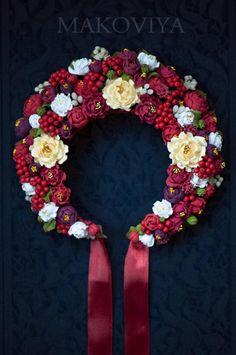 Flower Head Wreaths, Flower Garlands, Black Flowers, Diy Flowers, Ukrainian Christmas, Floral Crown Wedding, Ukrainian Dress, Tribal Dress, Folk Fashion