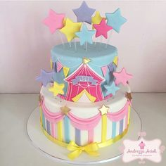 Pin by Agnes S. on Party - Zirkus Carnival Birthday Cakes, Circus Theme Cakes, Carnival Cakes, Carousel Birthday, Circus Theme Party, Circus Birthday, Themed Cakes, Birthday Party Themes, Cake Birthday