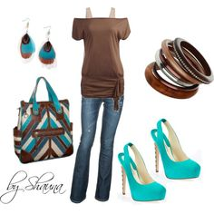 turquoise and browns, created by shauna-rogers