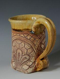 Blue Heron Pottery lace mug
