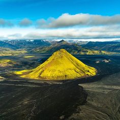 Photo: @ChrisBurkard I've been chasing the Maelifell Volcano in Icelands Landmannalaugar for almost 4 years. There is only about a month or two out of the year that it blooms bright green and isn't covered in snow. This last August I finally caught it in all its glory. The Mýrdalsjökull glacier is in the background. by natgeotravel