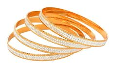 Waama Jewels Festival Wear Golden With Silver Four Bangle Bollywood Style Bangles For Women ( Model No. Wjb5008-2.10 )