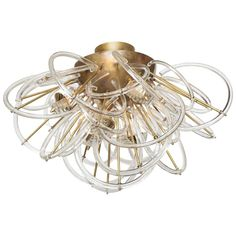 View this item and discover similar for sale at - Rare clear glass loops and brass flush mount chandelier ('plafoniera') attributed to J. The patina on the brass globe and arms of this chandelier Flush Mount Chandelier, Vintage Chandelier, Flush Mount Ceiling, Chandelier Pendant Lights, Modern Chandelier, Crystal Chandeliers, Ceiling Light Fixtures, Ceiling Lights, Ceiling Fans
