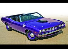 1971 Plymouth Hemi 'Cuda Convertible. With only eleven units produced, this 425 horsepower Plymouth quickly became a highly sought after collector's item. One unit recently sold at auction for a cool $4 million.