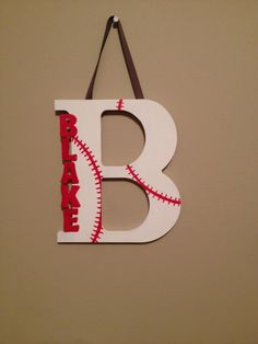 Baseball wooden letter by LettersforLittles on Etsy https://www.etsy.com/listing/209039297/baseball-wooden-letter