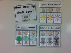 "Coloring RUBRIC for the Classroom. {How Does My Work Look?"" Create with students to show expectations for coloring work in the classroom. Great for back to school. $"
