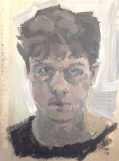 Stan, self portrait, acrylic on the back of an old envelope.  A2 Fine Art, Truro College. 2105