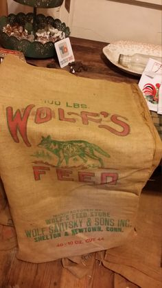 Burlap Feed Sack - Wolf's Feed Store, Wolf Savitsky & Sons, Inc. Connecticut by BabyBAntiques on Etsy