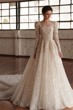 The most incredibly beautiful wedding dress - long sleeves ball gown wedding dre. The most incredibly beautiful wedding dress - long sleeves ball gown wedding dre. The most incredibly beautiful wedding dress - long sleeves ball gown wedding dress Gorgeous Wedding Dress, Modest Wedding Dresses, Bridal Dresses, Wedding Gowns, Lace Wedding, Prom Dresses, Sparkle Wedding, Elegant Wedding, Dresses Elegant