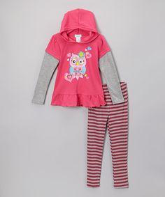 Loving this Fuchsia Owl Tunic & Stripe Leggings & Leggings - Toddler & Girls on #zulily! #zulilyfinds