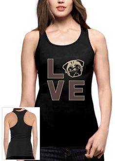 Love Pugs - Cute Pug Face Dog Lovers Gift Idea Racerback Tank Top Animal Lover