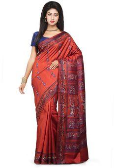 Buy Rust Pure Silk Baluchari Handloom Saree with Blouse online, work: Hand Woven, color: Rust, usage: Festival, category: Sarees, fabric: Silk, price: $212.00, item code: SHC63, gender: women, brand: Utsav