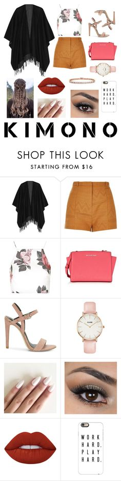 """Kimono"" by paloslutzky ❤ liked on Polyvore featuring rag & bone, River Island, Topshop, Michael Kors, Rebecca Minkoff, CLUSE, Lime Crime, Casetify, Tiffany & Co. and kimonos"