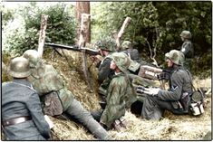 A Maschinengewehr MG.42 unit preparing for the Allied invasion in the Normandy Bocage. 1944 #WW2 #MG42 #worldwar2 #history #Colorizing #Normandy
